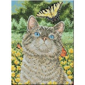 Котенок с бабочкой Алмазная мозаика вышивка на подрамнике Molly