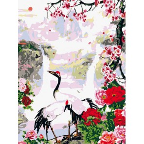 Журавли Раскраска картина по номерам акриловыми красками на холсте Белоснежка