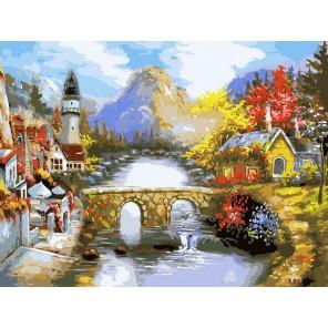 Мост через реку Раскраска картина по номерам акриловыми красками на холсте Белоснежка