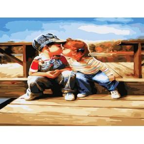 Поцелуй у реки Раскраска картина по номерам акриловыми красками на холсте Белоснежка