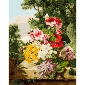 Цветы в корзинке Раскраска картина по номерам акриловыми красками на холсте Белоснежка
