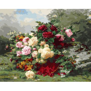 Розы и ягодная корзина Раскраска картина по номерам акриловыми красками на холсте Белоснежка