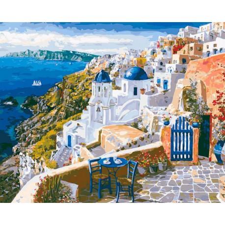 Санторини Раскраска картина по номерам акриловыми красками на холсте Белоснежка