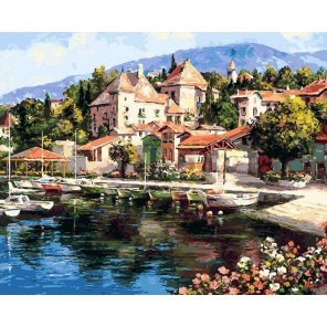 Лодочная пристань Раскраска картина по номерам акриловыми красками на холсте Белоснежка