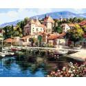 Лодочная пристань Раскраска картина по номерам на холсте Белоснежка