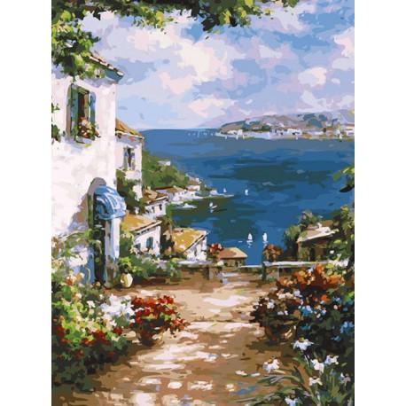 Улочка к морю Раскраска картина по номерам акриловыми красками на холсте Белоснежка