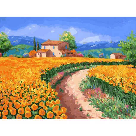 Поле с подсолнухами Раскраска картина по номерам акриловыми красками на холсте Белоснежка
