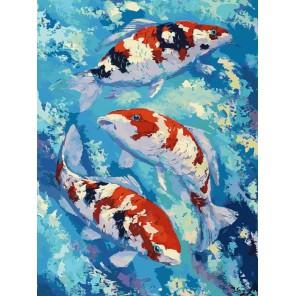 Карпы Кои Раскраска картина по номерам акриловыми красками на холсте Белоснежка