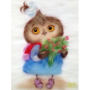 Сова ученица Картина из шерсти Toyzy
