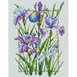 Композиция из ирисов Алмазная мозаика на подрамнике Цветной