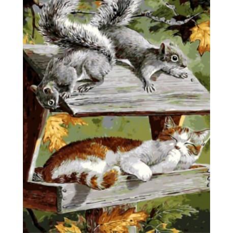Кот в кормушке Раскраска картина по номерам на холсте