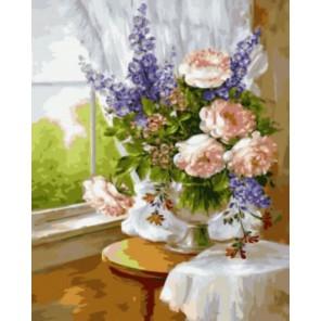 Цветы у окна Раскраска картина по номерам акриловыми красками на холсте