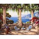 Два кресла и столик на террасе Раскраска картина по номерам акриловыми красками на холсте
