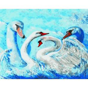 Лебеди Раскраска картина по номерам акриловыми красками на холсте