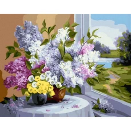 Букет у окна Раскраска картина по номерам акриловыми красками на холсте