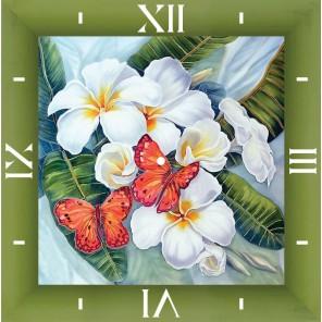 Бабочки и магнолии Часы Алмазные на подрамнике с частичной выкладкой Color Kit