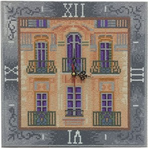 Фотография готовой работы Дом с мезонином Часы Алмазные на подрамнике с полной выкладкой Color Kit