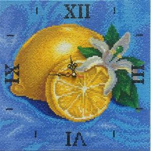 Фотография готовой работы Лимонная фантазия Часы Алмазные на подрамнике с полной выкладкой Color Kit