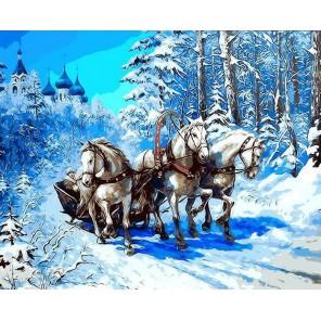 Тройка с бубенцами Раскраска картина по номерам акриловыми красками на холсте Menglei