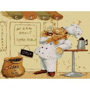 Повар с чашечкой кофе Раскраска по номерам акриловыми красками на холсте Menglei