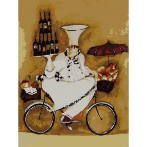 Повар на велосипеде Раскраска по номерам акриловыми красками на холсте Menglei