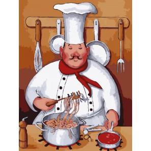 Повар и спагетти Раскраска по номерам акриловыми красками на холсте Menglei