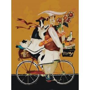 Повар и корова на велосипеде Раскраска по номерам акриловыми красками на холсте Menglei
