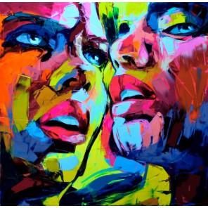 Абстрактный портрет парный Раскраска картина по номерам акриловыми красками Color Kit