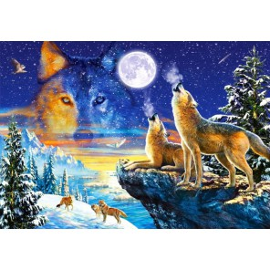 Волки на скале Пазлы Castorland