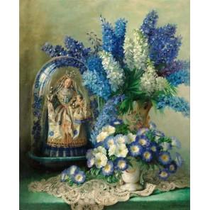 Натюрморт в бело-голубых тонах Набор для частичной вышивки бисером Color Kit