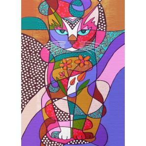 Витражный кот Алмазная мозаика (вышивка) Гранни