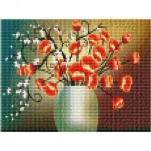 Сакура и маки Алмазная мозаика на подрамнике Цветной