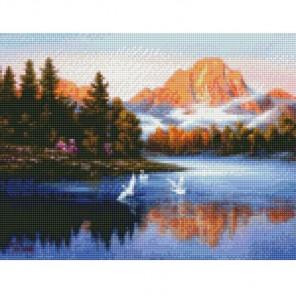 Птицы на озере Алмазная мозаика на подрамнике Цветной
