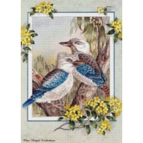 Синекрылая кукабара Алмазная мозаика на подрамнике Цветной