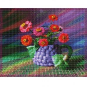 Циния Алмазная мозаика на подрамнике Цветной