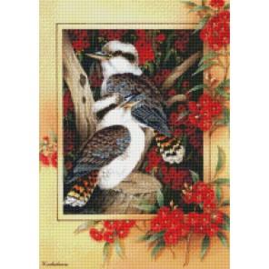 Птицы в рябине Алмазная мозаика на подрамнике Цветной