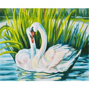 Изящные лебеди Раскраска картина по номерам акриловыми красками на холсте