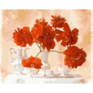 Натюрморт с красными цветами Раскраска картина по номерам акриловыми красками на холсте