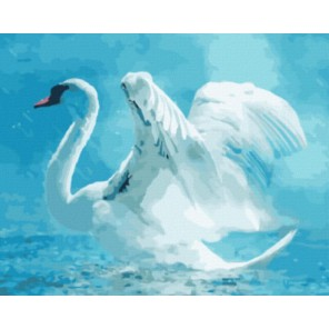 Лебедь под дождем Раскраска картина по номерам на холсте