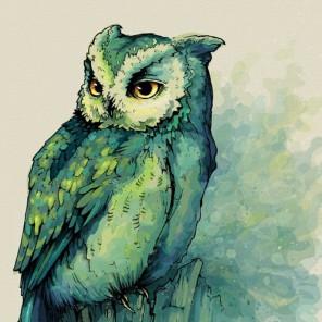 Изумрудная сова Раскраска картина по номерам акриловыми красками на холсте Color Kit