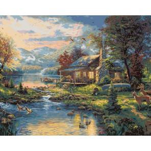 Рай на земле (художник Томас Кинкейд) Раскраска картина по номерам акриловыми красками Plaid