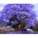 Под палисандровым деревом (художник Кэрол Каваларис) Раскраска картина по номерам акриловыми красками на холсте