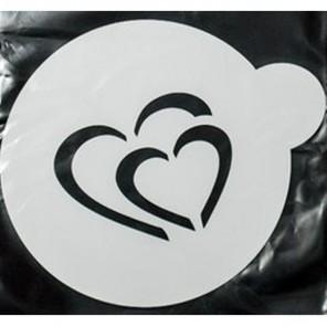 Сердце двойное Трафарет для кофе и десертов