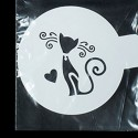 Кошечка романтическая Трафарет для кофе и десертов
