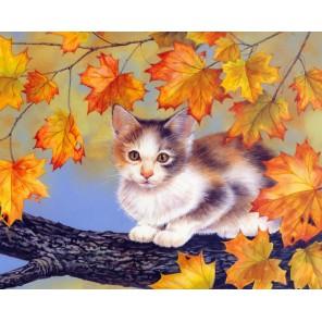 Котёнок на дереве Набор для частичной вышивки бисером Color Kit