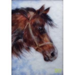 Гнедой конь Картина из шерсти Toyzy