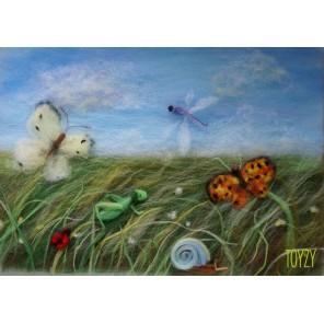 Летний луг Картина из шерсти Toyzy