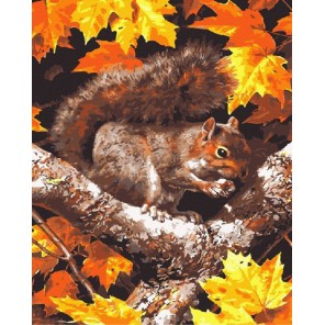 Белочка осенью Раскраска картина по номерам на холсте Color Kit