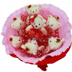 Мишки Love Набор для создания букета из 7-ми игрушек