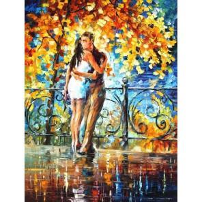 В осеннем сквере (художник Леонид Афремов) Раскраска картина по номерам на холсте